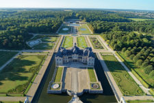 Drone view of the gardens of Vaux-le-Vicomte