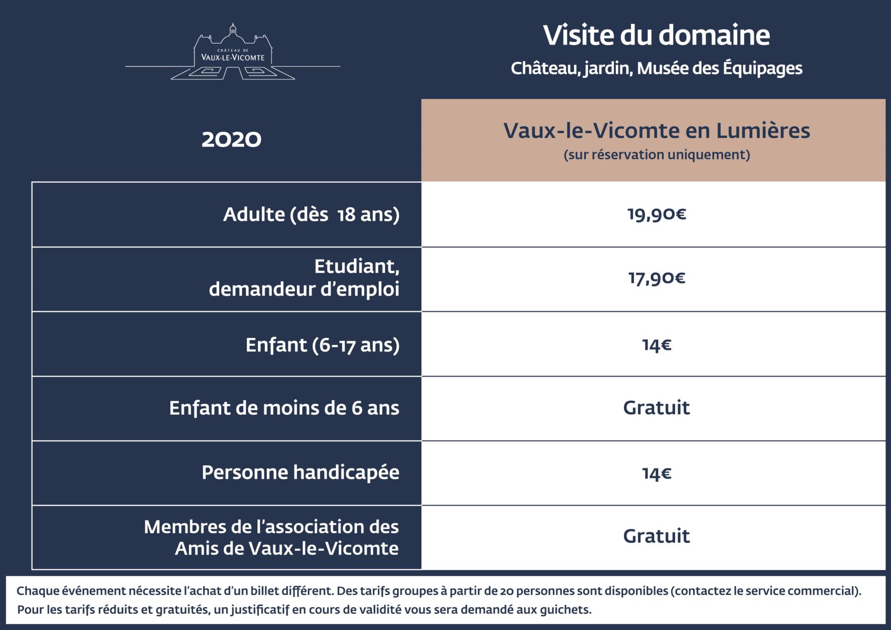 Tarifs Vaux-le-Vicomte en Lumières 2020